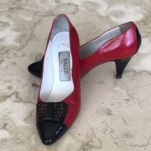 Vintage 80's Bally Red & Black Leather Pumps